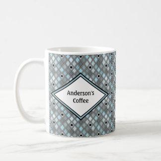 Caneca De Café Azul do teste padrão do diamante do Harlequin