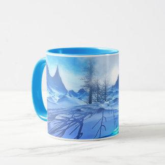 Caneca de café azul gelado bonita da cena da neve