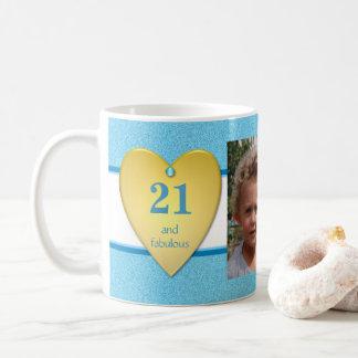 Caneca De Café Azul personalizado da foto do aniversário de 21