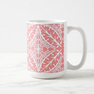 Caneca De Café Azulejos marroquinos - cor-de-rosa coral e branco