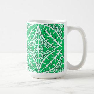 Caneca De Café Azulejos marroquinos - verde e branco de jade