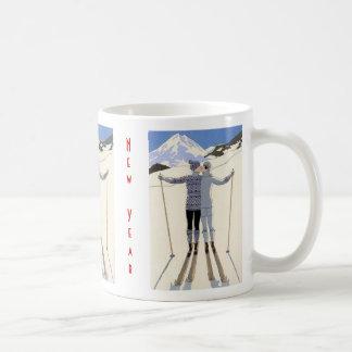 Caneca De Café Beijo dos esquiadores - o feliz ano novo