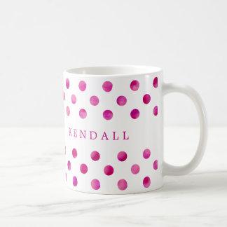 Caneca De Café Bolinhas cor-de-rosa personalizadas da aguarela
