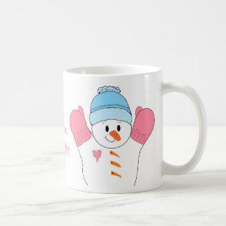 Caneca De Café Boneco de neve gelado no rosa