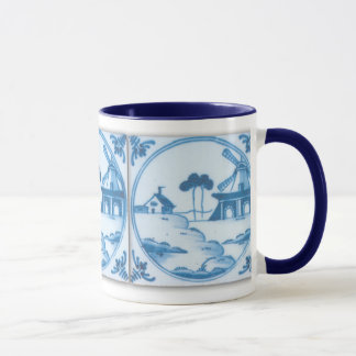 Caneca de café branca azul do moinho de vento de