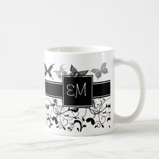 Caneca De Café Branco do preto do Flourish do Victorian da
