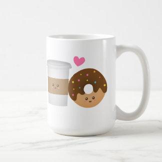 Caneca De Café Café bonito e rosquinha no amor, par perfeito