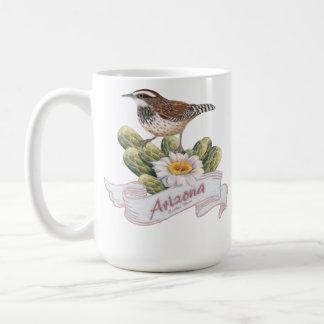 Caneca De Café Carriça de cacto do pássaro de estado da arizona