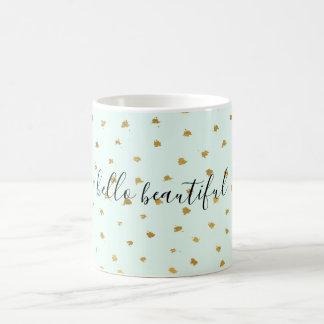 Caneca De Café Chique Glam do ponto da hortelã do ouro