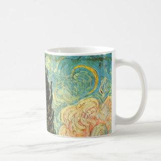 Caneca De Café Ciprestes de Van Gogh, belas artes da paisagem do