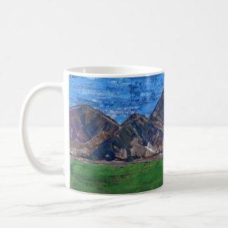 Caneca De Café Copo de café, paisagem acrílica da montanha