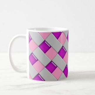 Caneca de café cor-de-rosa e roxa do azulejo de