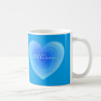 Caneca De Café Coração profundo da água azul - amor no azul