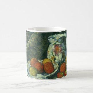 Caneca De Café Cortina e jarro florescido por Paul Cezanne