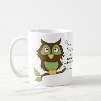 Caneca De Café Coruja Viciado-Verde do chá verde