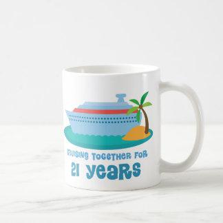 Caneca De Café Cruzamento junto por 21 anos de presente do