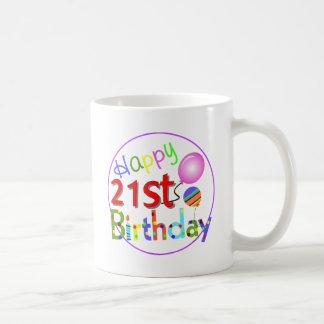 Caneca De Café Cumprimentos do aniversário de 21 anos