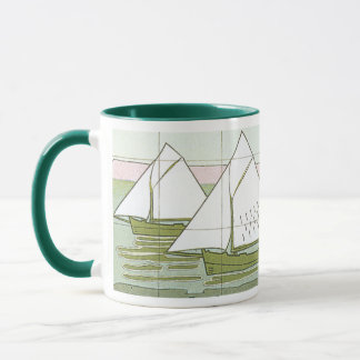 Caneca de café da arte do azulejo do veleiro do