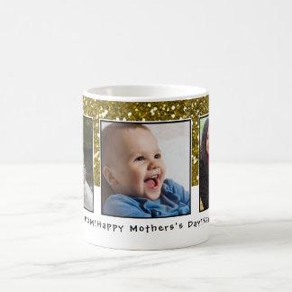 Caneca De Café Dia das mães do brilho do ouro da colagem de 3
