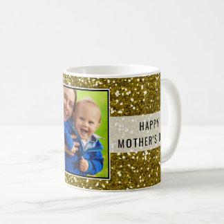 Caneca De Café Dia das mães Glittery da foto do brilho do ouro