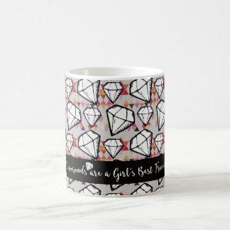 Caneca De Café Diamantes brancos do Grunge e triângulos coloridos