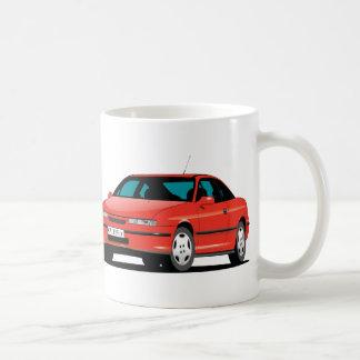Caneca De Café Dianteiro de Opel Calibra e traseiro vermelhos