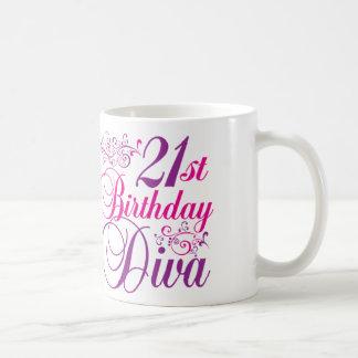 Caneca De Café Diva do aniversário de 21 anos