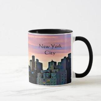 Caneca de café do por do sol da Nova Iorque