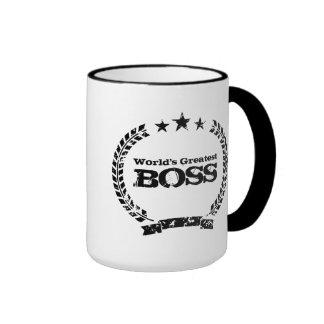 Caneca de café do vintage do chefe   do mundo a gr