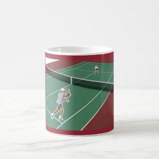 Caneca de café dos jogadores de ténis