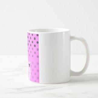 Caneca De Café Dots_cats_pink_patterns_design da polca
