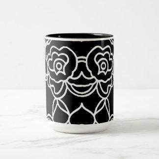 """Caneca De Café Em Dois Tons A """"modificação acentua"""" Black_White_Lace"""