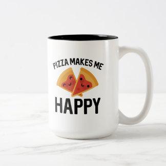 Caneca De Café Em Dois Tons A pizza faz-me feliz