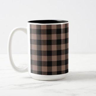 """Caneca De Café Em Dois Tons A """"xadrez agride"""" o bege de Blk&"""