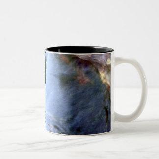 Caneca De Café Em Dois Tons Azul astuto abstrato bonito
