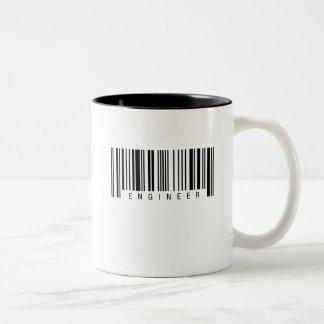 Caneca De Café Em Dois Tons Código de barras do engenheiro