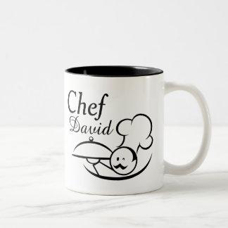 Caneca De Café Em Dois Tons Cozinheiro chefe ilustrado personalizado