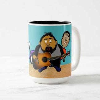 Caneca De Café Em Dois Tons Desenhos animados da bomba de foto do guitarrista