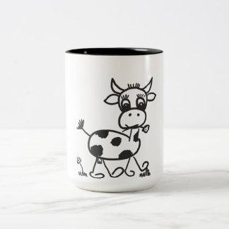 Caneca De Café Em Dois Tons Funny Little Cow - taça bicolor