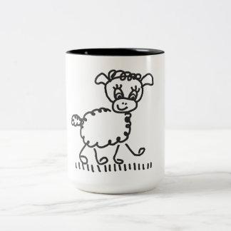 Caneca De Café Em Dois Tons Funny Little Sheep - taça bicolor