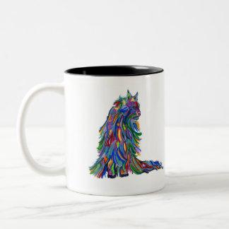 Caneca De Café Em Dois Tons Gatinho colorido