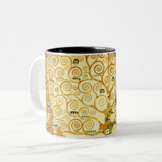 Caneca De Café Em Dois Tons Gustavo Klimt a árvore da arte Nouveau do vintage