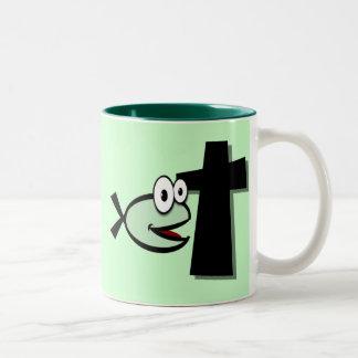Caneca De Café Em Dois Tons Mantenha seus olhos na cruz