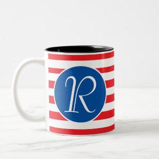 Caneca De Café Em Dois Tons Monograma branco & azul vermelho