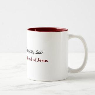 Caneca De Café Em Dois Tons Nada mas o sangue de Jesus