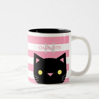 Caneca De Café Em Dois Tons Nome feito sob encomenda bonito & inicial do gato