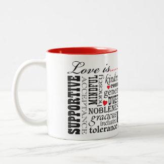Caneca De Café Em Dois Tons O amor é amor, matéria das palavras
