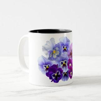 Caneca De Café Em Dois Tons O amor perfeito azul floresce Pansies florais do