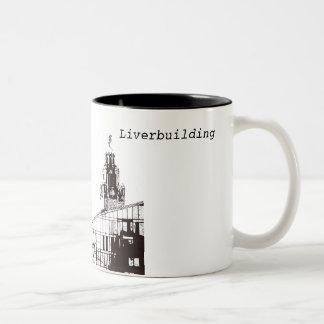 Caneca De Café Em Dois Tons O Liverbuilding em preto e branco