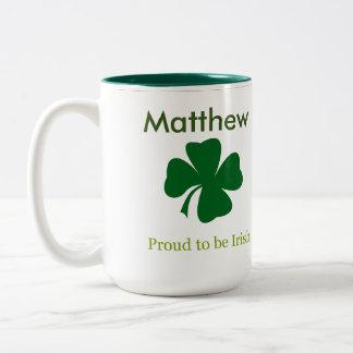 Caneca De Café Em Dois Tons Orgulhoso ser presente personalizado irlandês da